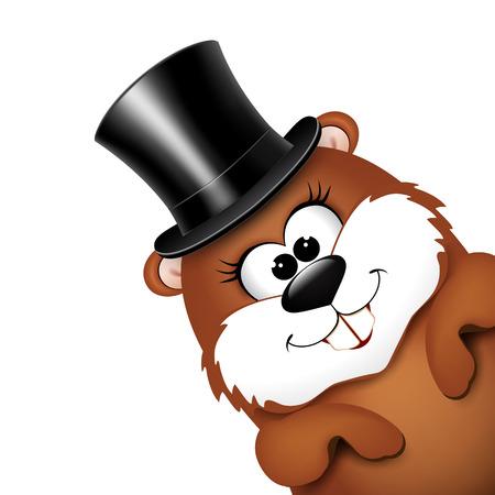 Groundhog stock photos royalty free groundhog images groundhog day greeting card with cheerful marmot illustration m4hsunfo Choice Image