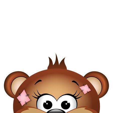 Funny bear on white background. illustration.
