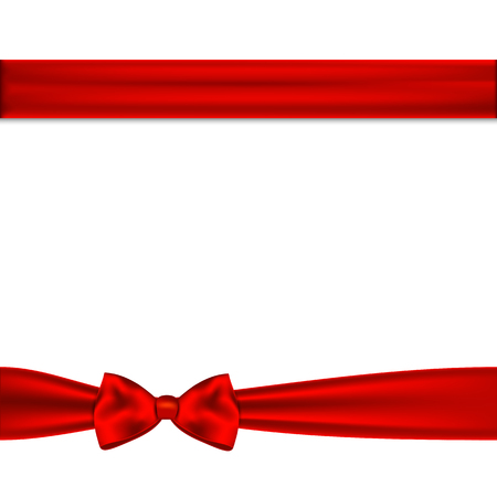 Red ribbon bow horizontal border. illustration. Иллюстрация