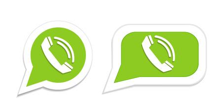 friend  nobody: Phone handset in speech bubble icon. Vector illustration. Illustration