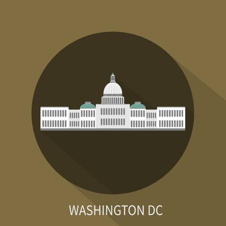 capitol hill: Capitol building in Washington DC. Vector icon. Vector illustration.