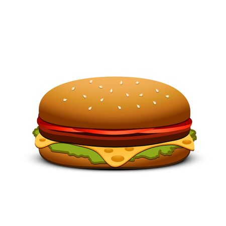 sesame seed: Hamburger isolated on white background. Vector illustration. Illustration
