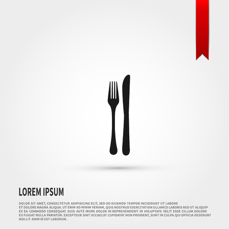 dinning table: Fork and knife Icon. Fork and knife symbol. Flat design style. Template for design. Illustration