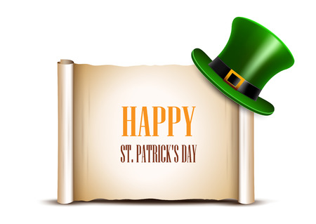 ancient paper: Saint Patrick Day card design. Green top hat and ancient paper roll on background. There is space for text.