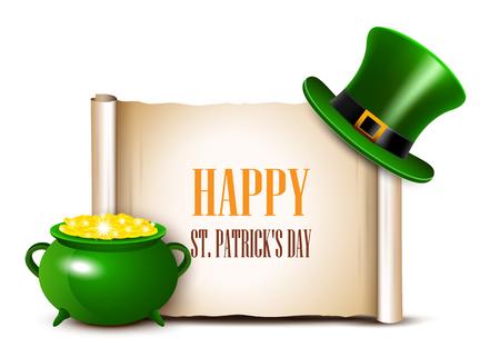 stpatrick: St.Patrick Day background with scroll paper. Vector illustration.