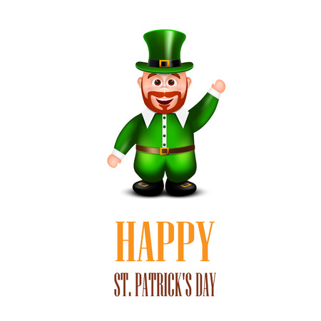 dwarf costume: Happy leprechaun waving hand. Saint Patricks Day Card. Vector illustration.