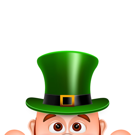 clover face: Cartoon Leprechaun in a green hat. Card for Saint Patricks Day. Vector illustration.