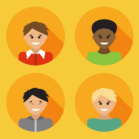 Flat design avatar set of multiracial people. Vector illustration.