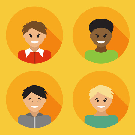 multiracial: Flat design avatar set of multiracial people. Vector illustration. Illustration