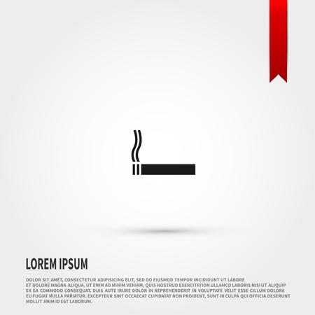 injurious: Black cigarette icon. Black cigarette symbol. Flat design style. Template for design. Illustration