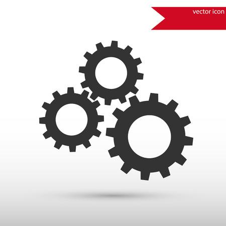 Black gears icon. Vector illustration design element. Flat style design icon.  イラスト・ベクター素材