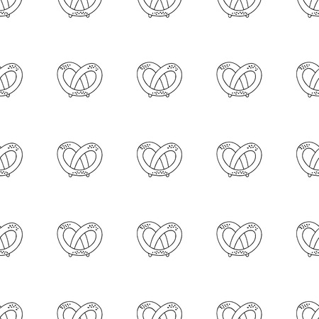 dough: German pretzels seamless pattern on white background. Oktoberfest concept. Sketchy hand drawn doodle. Black and white abstract picture. Vector element. Antistress coloring book.