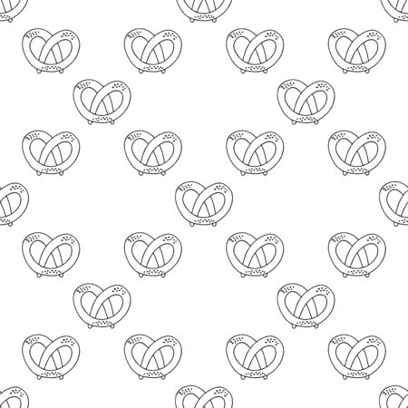 German pretzels seamless pattern on white background. Oktoberfest concept. Sketchy hand drawn doodle. Black and white abstract picture. Vector element. Antistress coloring book.