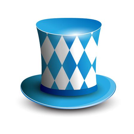 oktoberfest background: Bavaria Hat. Oktoberfest background. Bavarian flag color. Vector illustration Illustration