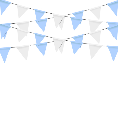 flapping: Oktoberfest decoration. Decorated in traditional colors of Bavaria. Bunting flags
