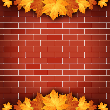 Autumn background with maple leaves on brick wall background. Illustration