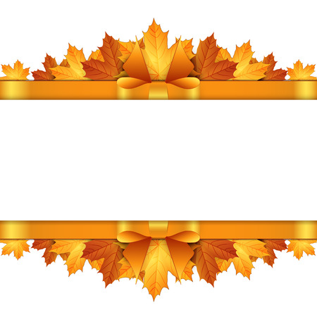 gold bow: Autumn leaves decorated with gold bow. Illustration