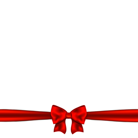red ribbon bow: Red ribbon bow horizontal border.