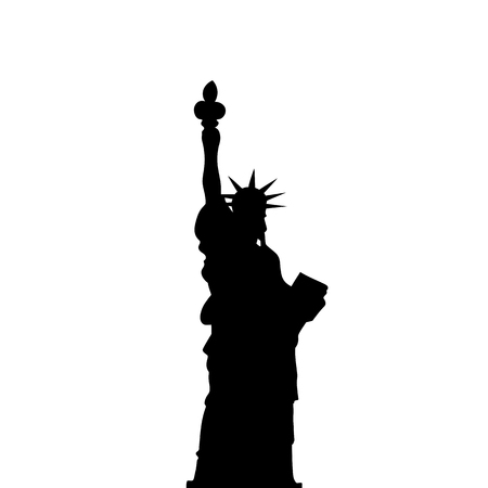shilouette: Statue Of Liberty Vector Black Shadows Silhouette. Illustration