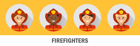 chinese american ethnicity: Icons firefighters of different nationalities. Fireman icon set.