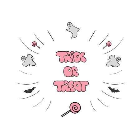 trick: Trick or treat. Hand drawn Halloween lettering.