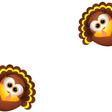 Card for Thanksgiving Day. Two funny turkeys on a white background. Illustration