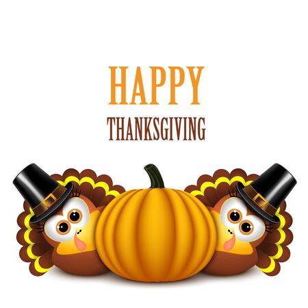 Thanksgiving turkeys with pilgrim hat and pumpkin. Illustration