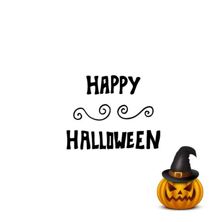 frightful: Halloween card with pumpkin in hat isolated on white. Vector illustration.