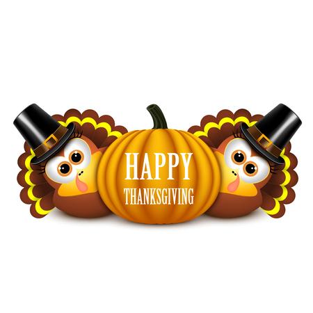 Thanksgiving card with turkeys in pilgrim hat and pumpkin. Vector illustration.