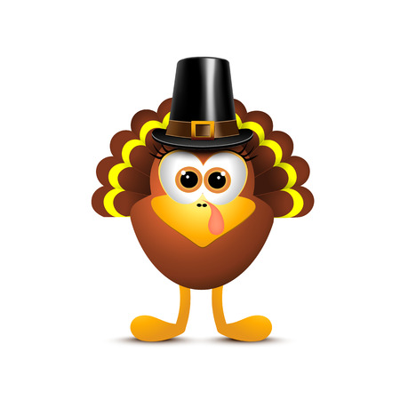 Thanksgiving turkey in pilgrim hat on white background. Vector illustration. 矢量图像