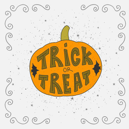 Halloween Card With Pumpkin And Handwritten Trick Or Treat Lettering.