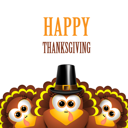Cartoon turkeys in a pilgrim hat on white background. Vector illustration.
