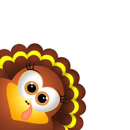 Card for Thanksgiving Day. Thanksgiving turkey on white background Illustration