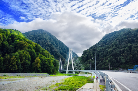 Cable-stayed bridge in Russia, Sochi. Photo landscape