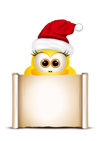 postcard design: Christmas card design template. Postcard with chicken in Santa hat.