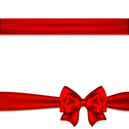 red ribbon bow: Red ribbon bow horizontal border. Vector illustration.