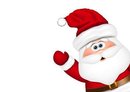 Santa Claus look from the side. Vector illustration. Illustration