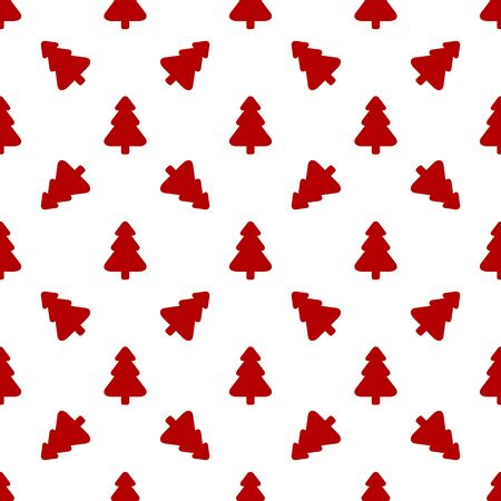 Pattern for wrapping paper. Red Christmas tree on a white background.