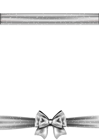 silver ribbon: Silver ribbon bow horizontal border. Vector illustration.