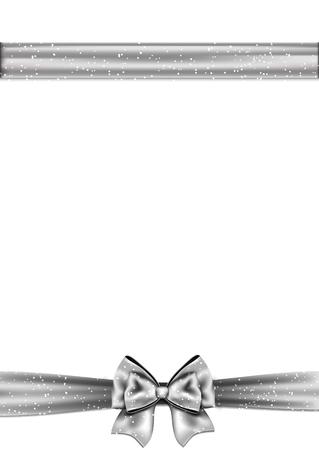 silver ribbon: Silver ribbon bow horizontal border. Vector illustration.