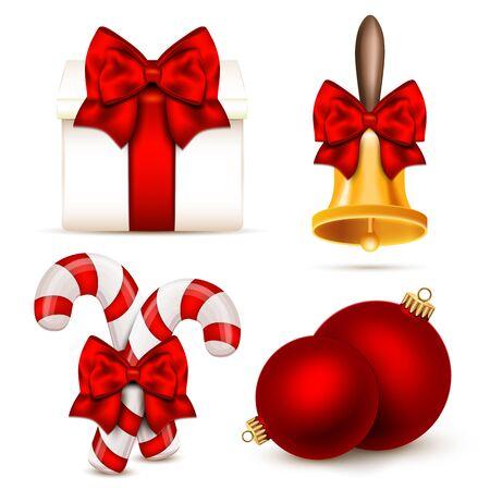handbell: Set of realistic Christmas objects. Vector illustration. Illustration