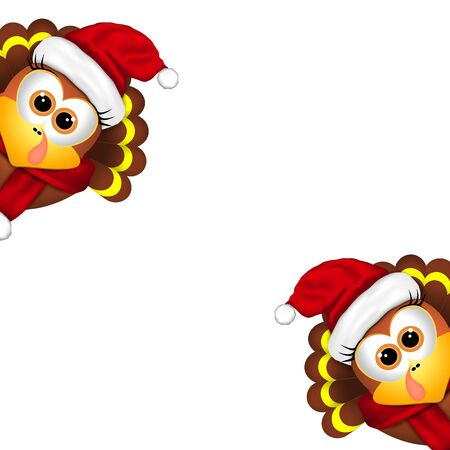 Two funny turkeys in Santa hat on a white background.