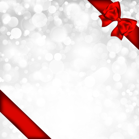 Shiny silver background with red bow. Vector illustration. Illustration