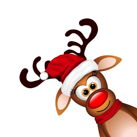 red nose: Funny Reindeer on white background. Vector illustration.