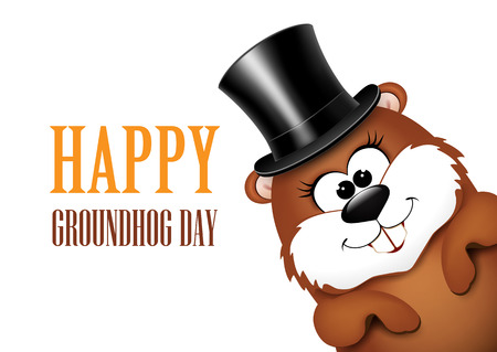 Groundhog Day greeting card with cheerful marmot