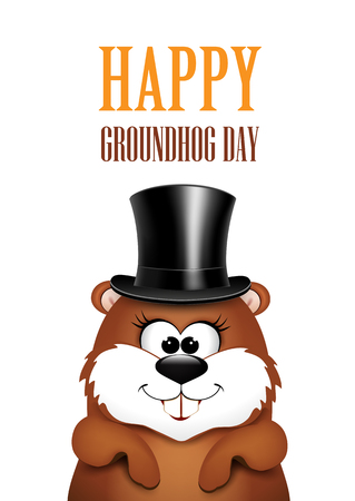 Postcard to Groundhog Day.Marmot on a white background