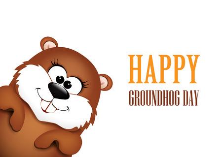 Happy Groundhog Day design. Illustration