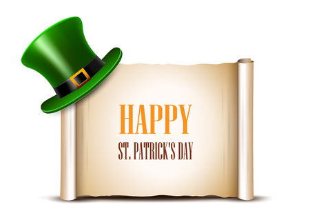 Saint Patrick Day card design. Green top hat and ancient paper r