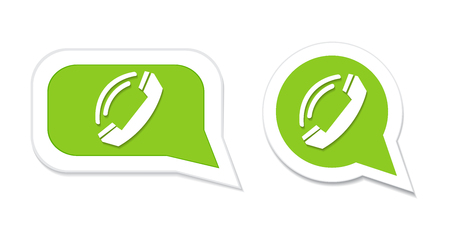 friend nobody: Phone handset in speech bubble icon. Vector illustration