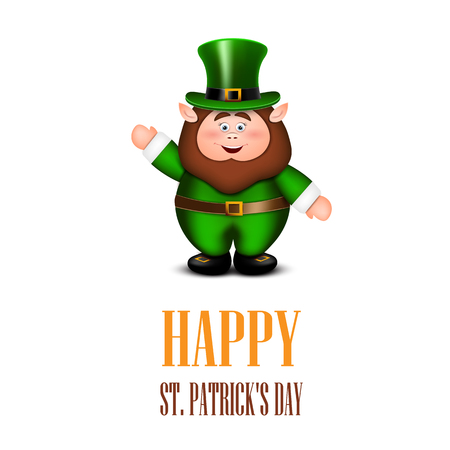 Happy leprechaun waving hand. Saint Patricks Day Card. Vector il